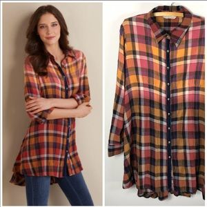 Soft Surroundings Artist Flannel Shirt Tunic Plaid